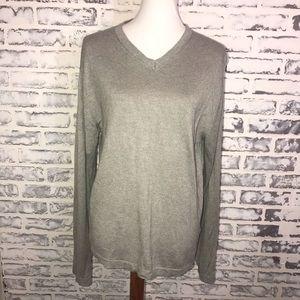 Banana Republic Silk Cashmere Sweater Gray V Neck